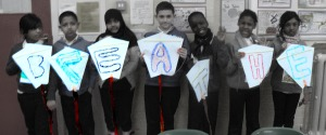 Kites created as part of the air pollution project at Rhyl school